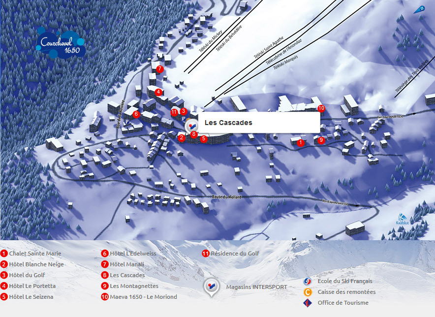 Access map Intersport Courchevel 1650